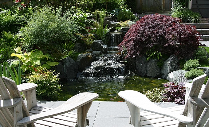 View from the seating area to the small pond & falls.
