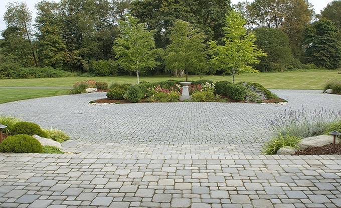 The front patio and motor court area. The pavers are imported Chinese tumbled and hand cut stone.