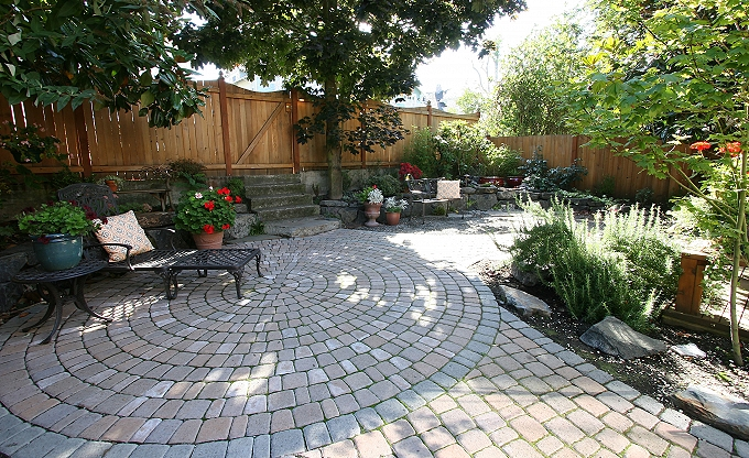Large 'dogproof' garden patio at the Tyler home.
