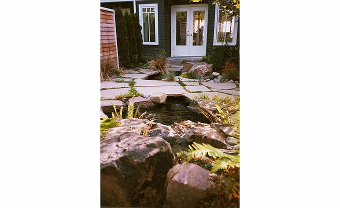 Unusually placed entry waterfall & pond done almost twenty years ago at a home in Woodinville.