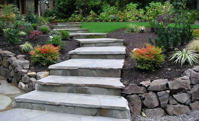 After image of mortared Pennsylvania bluestone steps .