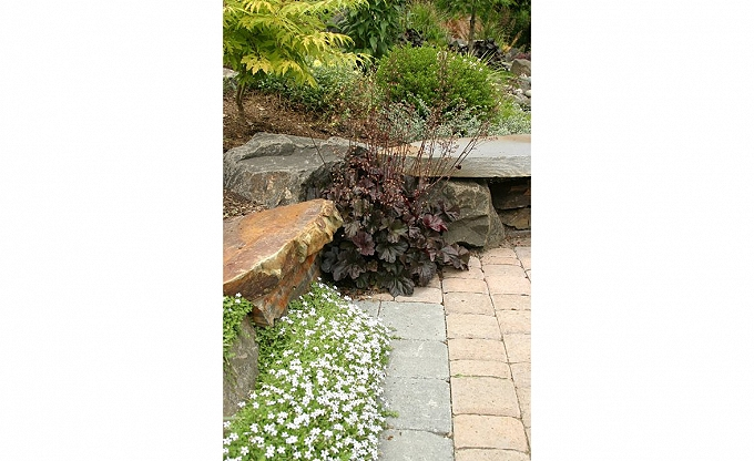 Ledge stone seat accented with