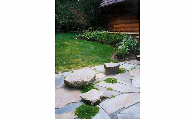 Front patio accent rock. The Nichols residence.