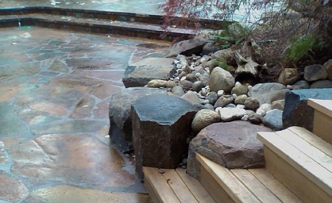 Underwood residence. Bridle trails area Bellevue. Columbia gorge granite split and fitted to the deck steps.