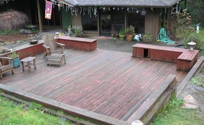 Bernard before...an old deck and patio area...