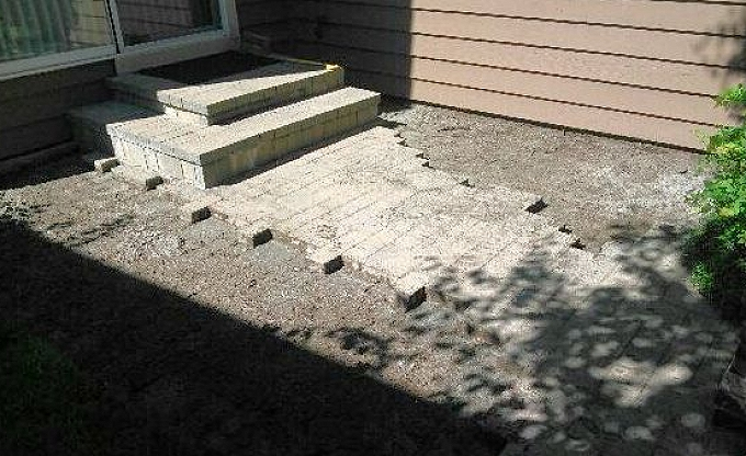 Here is a past client that called us about an older patio, past warranty that was subsiding unusually...here we have excavated the patio area.,.(2 of 3).