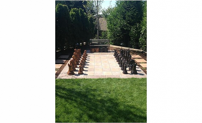 We finished this large chessboard patio at the Sheng residence...