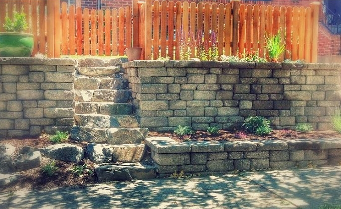 Actual finished Celtik block wall and flagstone path for these nice folks in West Seattle.