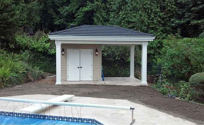 Digital before of a pool building garden in Issaquah