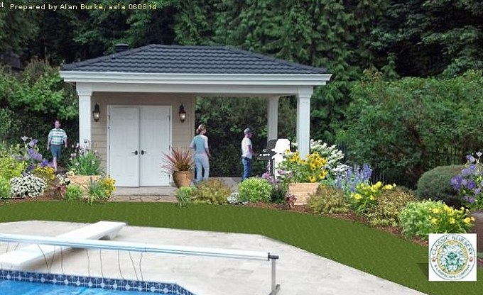 Digital idea for a pool building garden in Issaquah