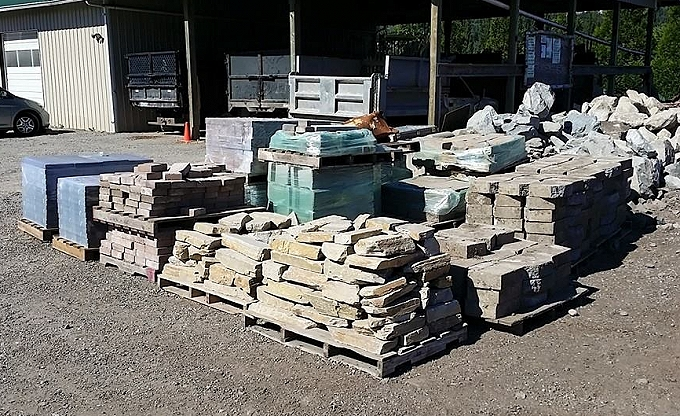 Overstock materials at our bulk area. These will be purchased by landscape clients at a deep discount...