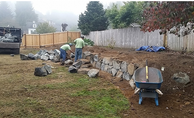Maffeo garden wall being built in basalt stone. Woodinville area.