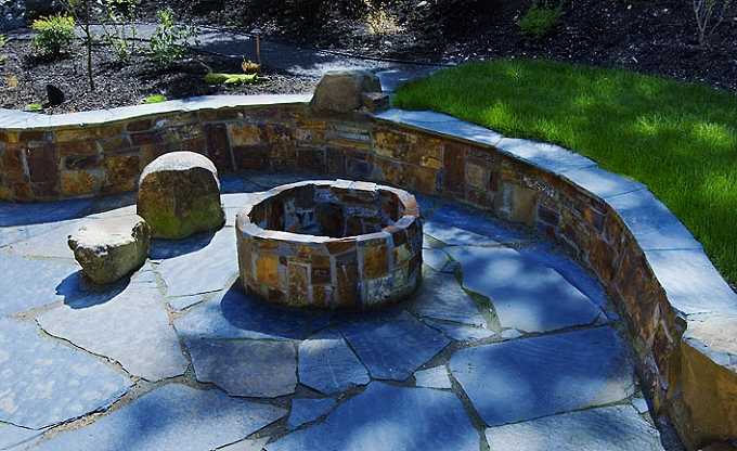 Ames Lake area firepit in mortared Montana slate