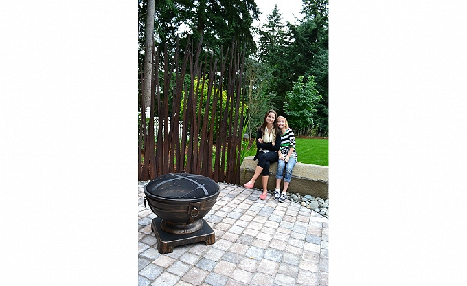 Portable vintage metal firepit at the JA Jance with Perry & Tally - two of AB's kids posing on a summer day...