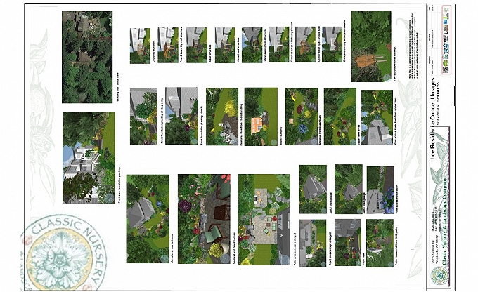 Sample  images used to study a building extension and patio areas.