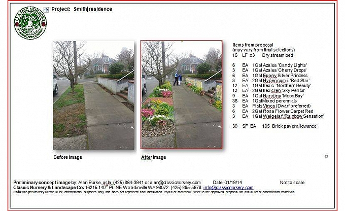 Digital before & after images of a proposed project in Queen Anne.