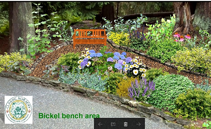 Digital image on a site photo of a proposed seating area.