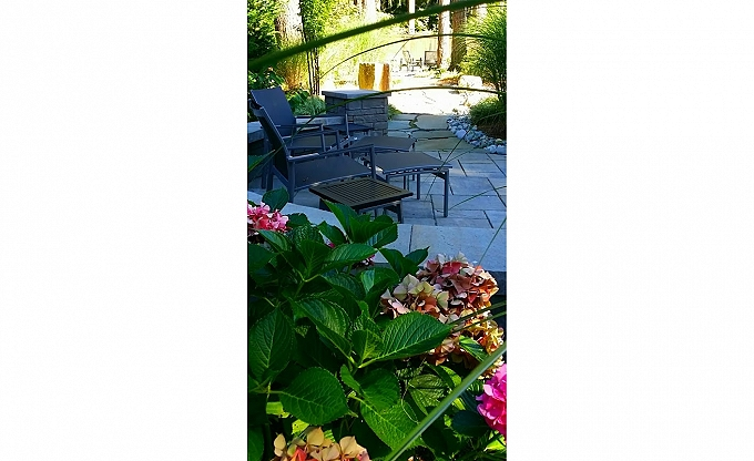 A view with hydrangea along the rear seatwall and patio/path areas